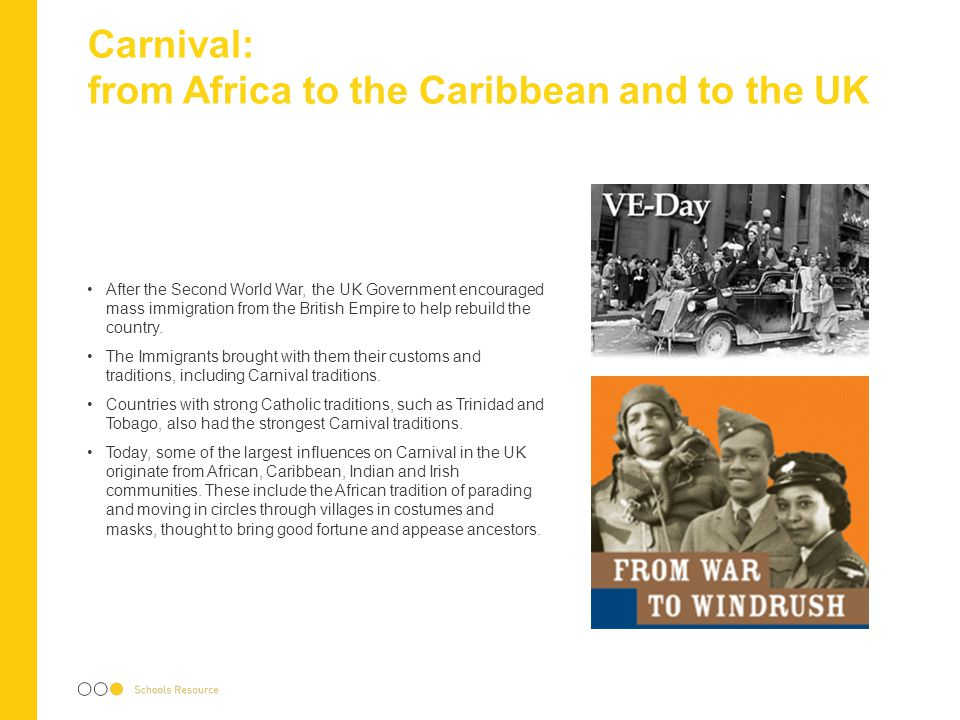 Carnival Music Africans who were brought to the Caribbean as Slaves used 'talking drums' to communicate.