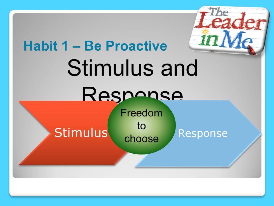 Habit 1 – Be Proactive Stimulus and Response Stimulus Response Freedom to choose