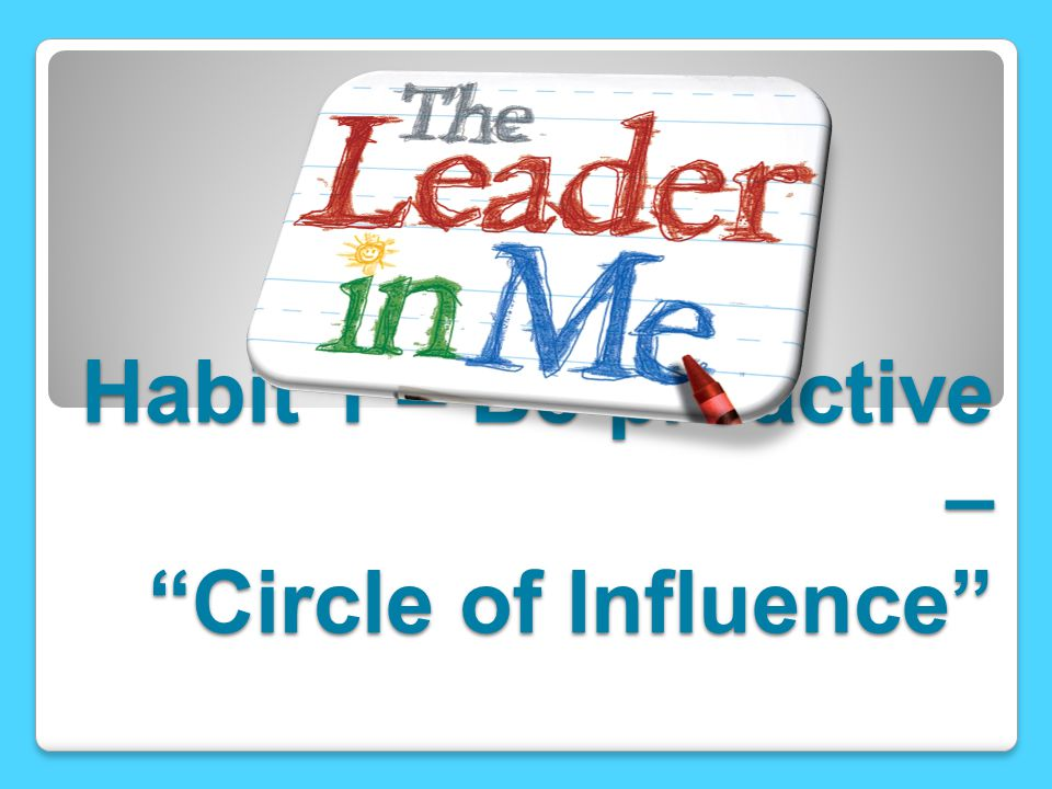 """Habit 1 – Be proactive – """"Circle of Influence"""""""