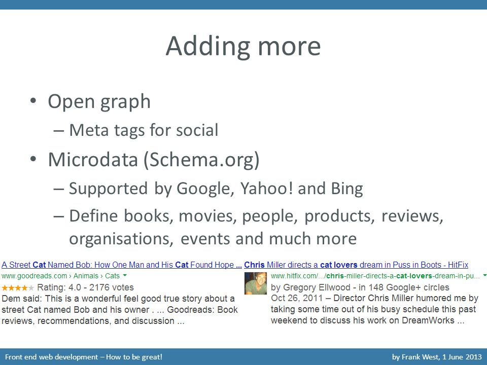 Adding more Open graph – Meta tags for social Microdata (Schema.org) – Supported by Google, Yahoo.