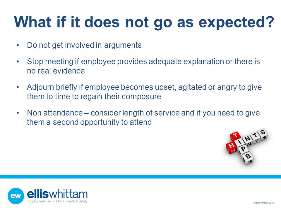 What if it does not go as expected? Do not get involved in arguments Stop meeting if employee provides adequate explanation or there is no real eviden