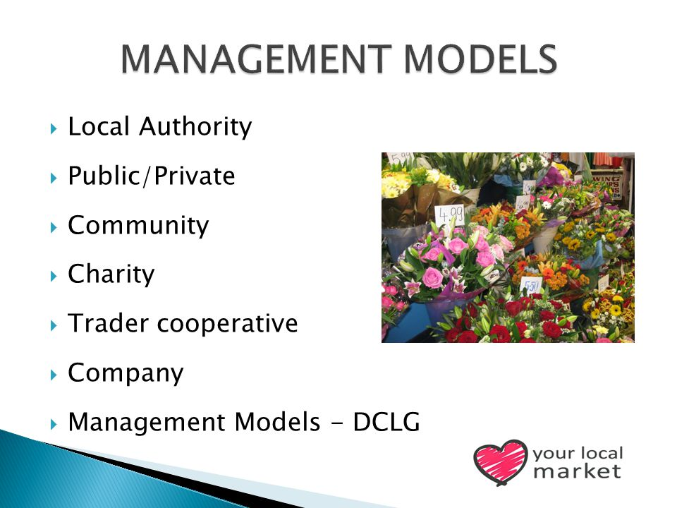  Local Authority  Public/Private  Community  Charity  Trader cooperative  Company  Management Models - DCLG