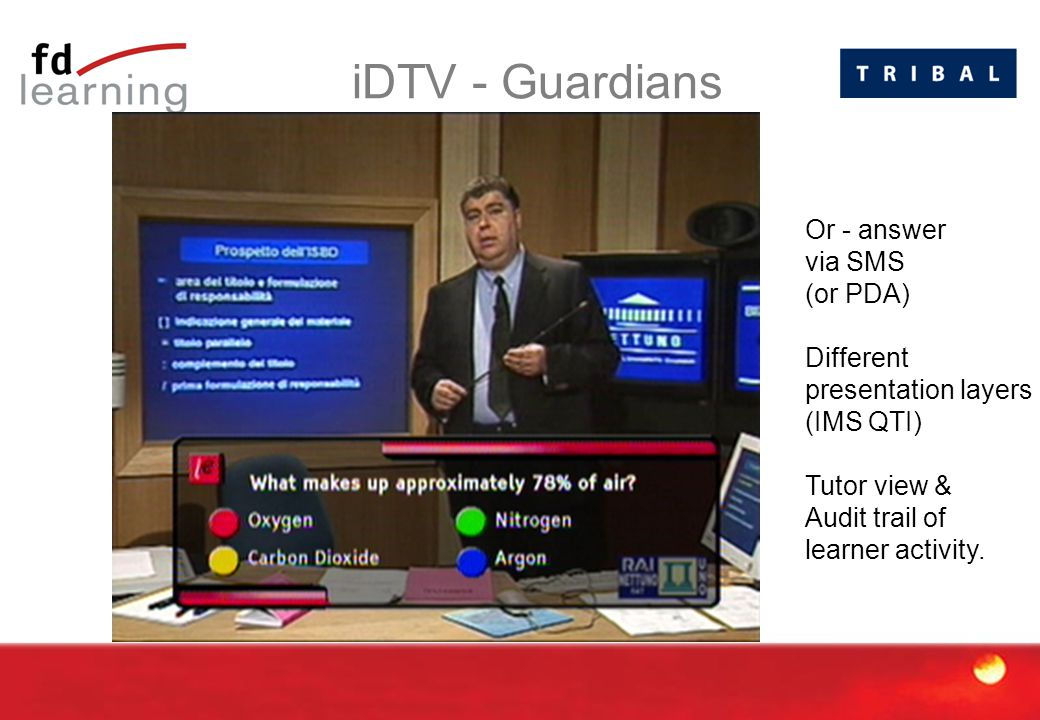 iDTV - Guardians Or - answer via SMS (or PDA) Different presentation layers (IMS QTI) Tutor view & Audit trail of learner activity.
