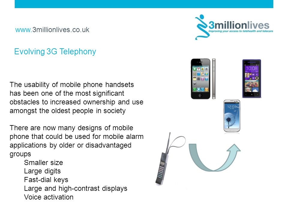 www.3millionlives.co.uk The usability of mobile phone handsets has been one of the most significant obstacles to increased ownership and use amongst the oldest people in society There are now many designs of mobile phone that could be used for mobile alarm applications by older or disadvantaged groups Smaller size Large digits Fast-dial keys Large and high-contrast displays Voice activation Evolving 3G Telephony