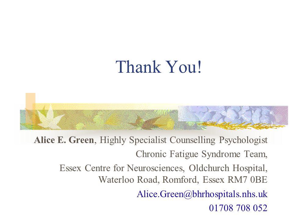 Thank You. Alice E.
