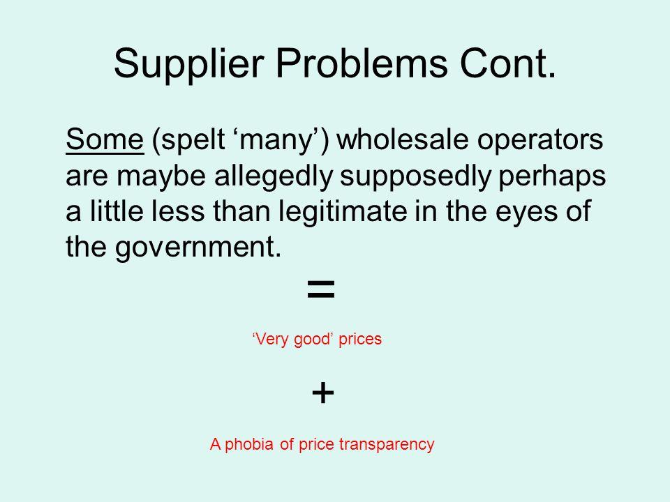 Supplier Problems Cont.