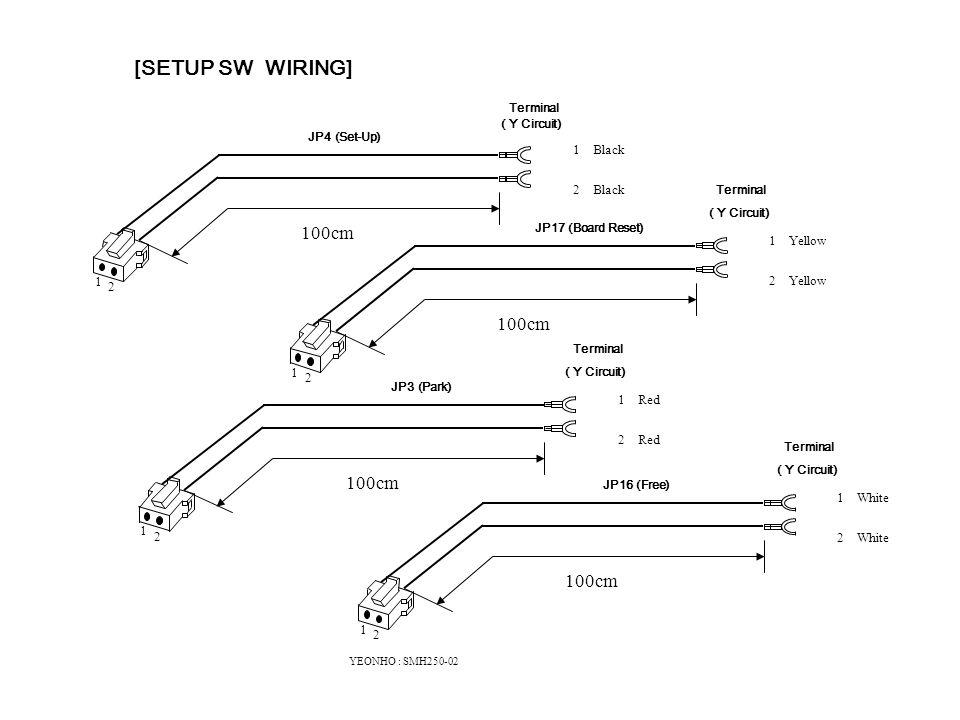 1 White 2 White 100cm 2 1 YEONHO : SMH250-02 1 Black 2 Black 100cm Terminal ( Y Circuit) 2 1 1 Yellow 2 Yellow 100cm 2 1 1 Red 2 Red 100cm 2 1 ( Y Circuit) Terminal JP4 (Set-Up) JP17 (Board Reset) JP3 (Park) JP16 (Free) [SETUP SW WIRING]