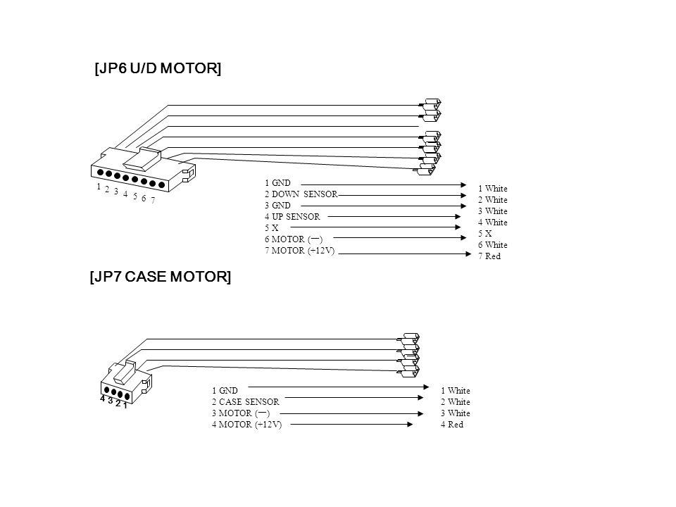 [JP7 CASE MOTOR] [JP6 U/D MOTOR] 1 2 3 4 5 6 7 1 2 3 4 1 GND 2 DOWN SENSOR 3 GND 4 UP SENSOR 5 X 6 MOTOR ( ㅡ ) 7 MOTOR (+12V) 1 White 2 White 3 White 4 White 5 X 6 White 7 Red 1 GND 2 CASE SENSOR 3 MOTOR ( ㅡ ) 4 MOTOR (+12V) 1 White 2 White 3 White 4 Red