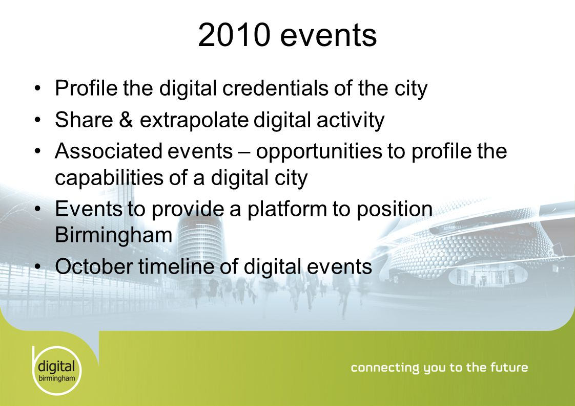 2010 events Profile the digital credentials of the city Share & extrapolate digital activity Associated events – opportunities to profile the capabilities of a digital city Events to provide a platform to position Birmingham October timeline of digital events