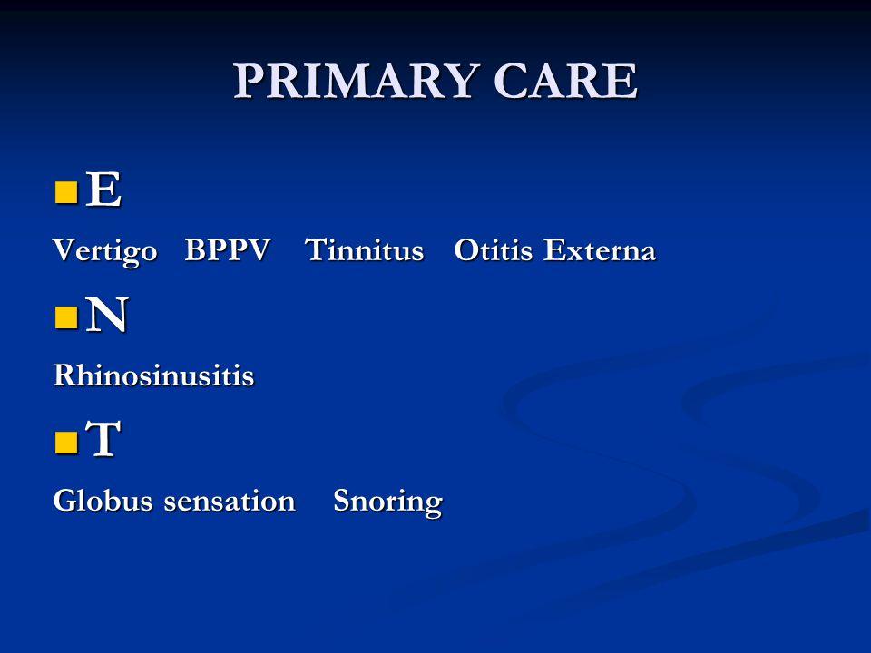PRIMARY CARE E Vertigo BPPV Tinnitus Otitis Externa NRhinosinusitis T Globus sensation Snoring