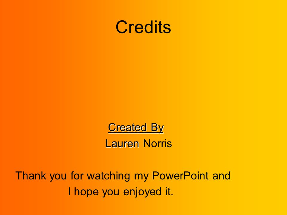Credits Created By Lauren Lauren Norris Thank you for watching my PowerPoint and I hope you enjoyed it.