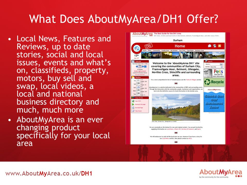 www.AboutMyArea.co.uk/DH1 What Does AboutMyArea/DH1 Offer.