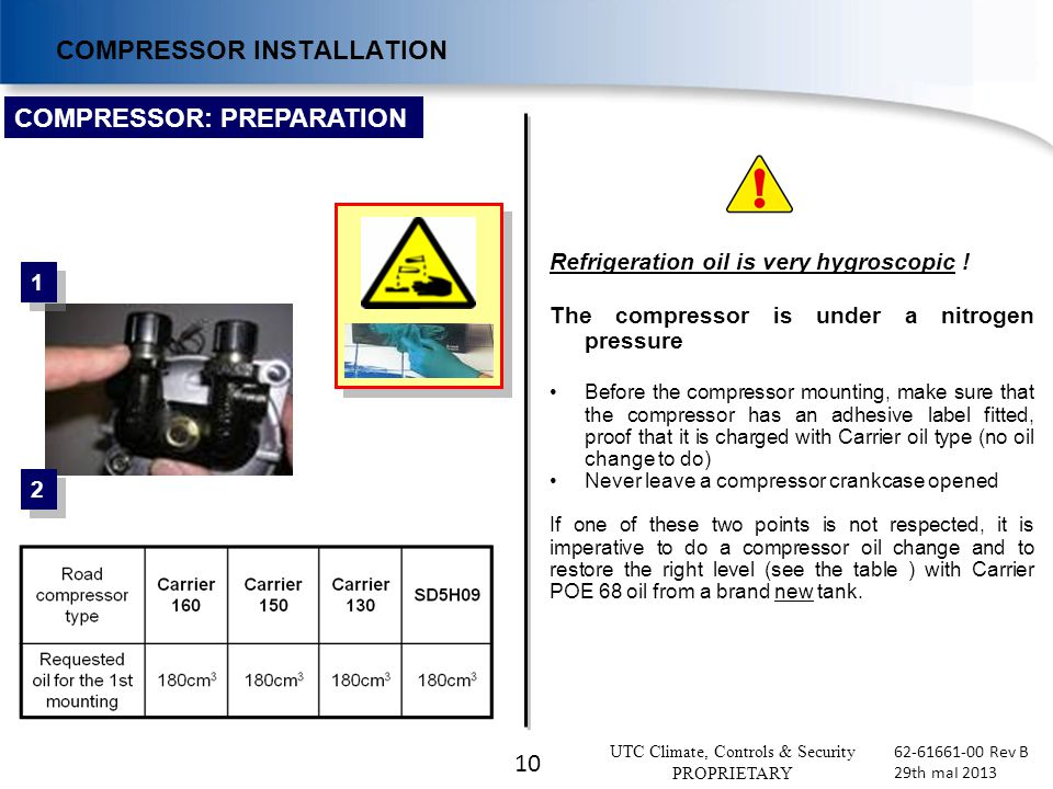 10 UTC Climate, Controls & Security PROPRIETARY 62-61661-00 Rev B 29th maI 2013 1 1 2 2 COMPRESSOR: PREPARATION COMPRESSOR INSTALLATION Refrigeration oil is very hygroscopic .