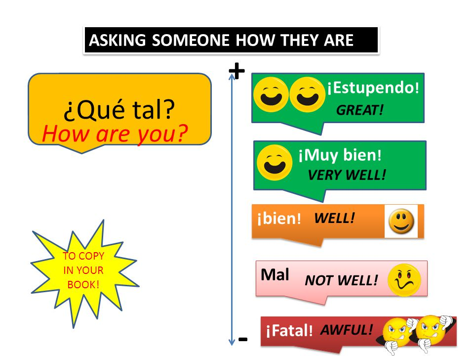 ASKING SOMEONE HOW THEY ARE ¿Qué tal.How are you.