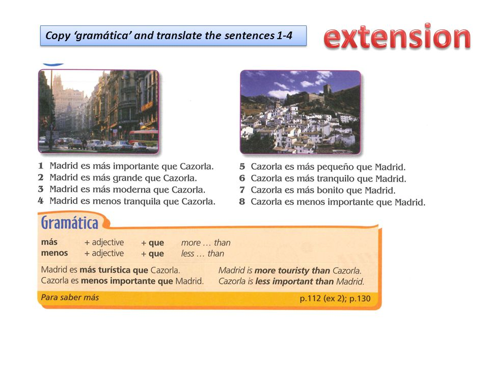 Copy 'gramática' and translate the sentences 1-4