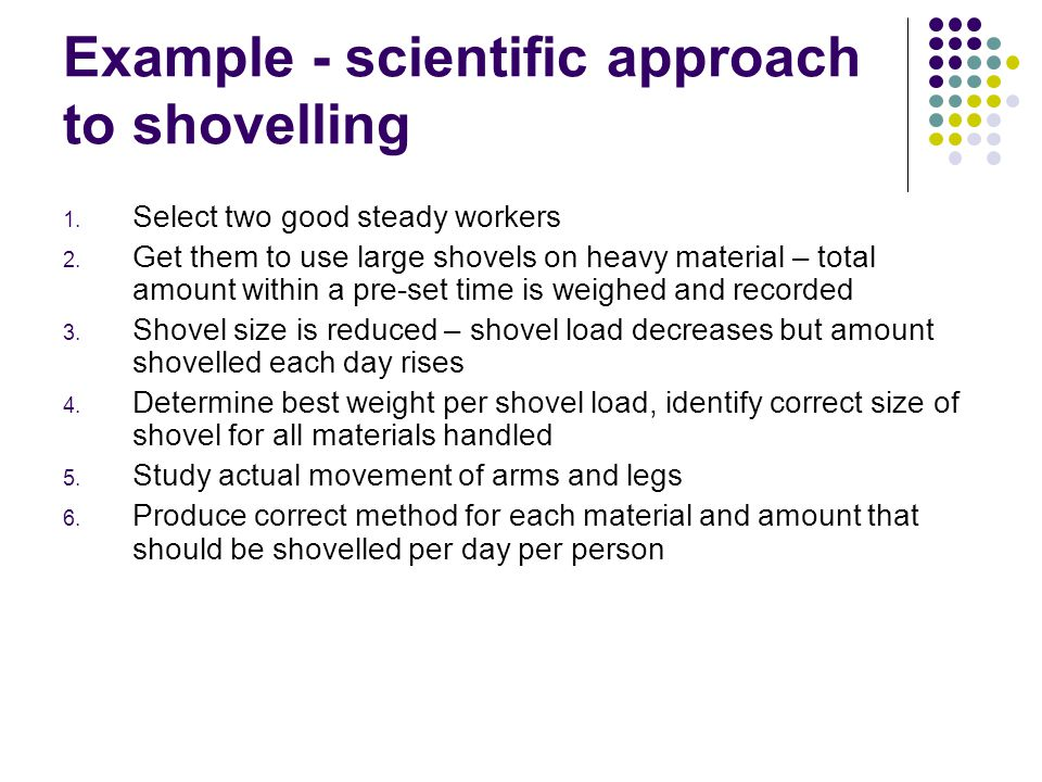 Example - scientific approach to shovelling 1. Select two good steady workers 2.