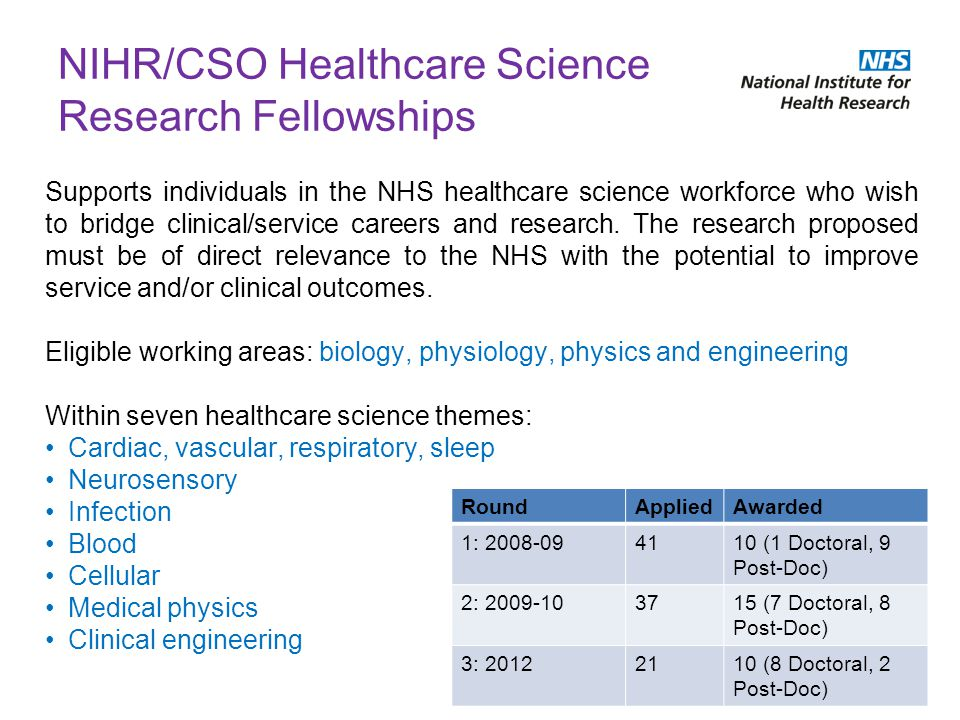 NIHR/CSO Healthcare Science Research Fellowships Supports individuals in the NHS healthcare science workforce who wish to bridge clinical/service care
