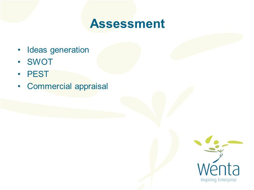 Assessment Ideas generation SWOT PEST Commercial appraisal