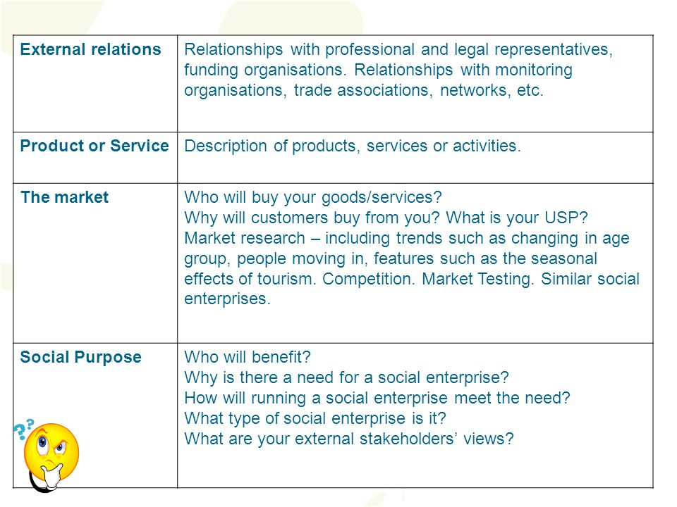 External relationsRelationships with professional and legal representatives, funding organisations.