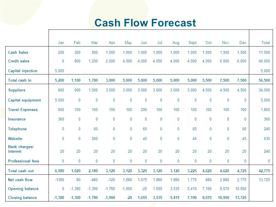 Cash Flow Forecast JanFebMarAprMayJunJulAugSeptOctNovDecTotal Cash Sales2003005001,000 1,500 11,500 Credit sales08001,2002,0004,000 6,000 40,000 Capital injection5,000 Total cash in5,2001,1001,7003,0005,000 5,5007,500 56,500 Suppliers6009001,5003,000 4,500 34,500 Capital equipment5,00000000000000 Travel Expenses600100 200100 1,800 Insurance36000000000000 Telephone006000 00 00 240 Website00500004500 00 635 Bank charges/ interest20 240 Professional fees0000000000000 Total cash out6,5801,0202,1803,120 3,3253,120 3,2254,620 4,72542,775 Net cash flow-138080-480-1201,8801,6751,880 1,7758802,8802,77513,725 Opening balance0-1,380-1,300-1,780-1,900-201,6553,5355,4157,1908,07010,950 Closing balance-1,380-1,300-1,780-1,900-201,6553,5355,4157,1908,07010,95013,725