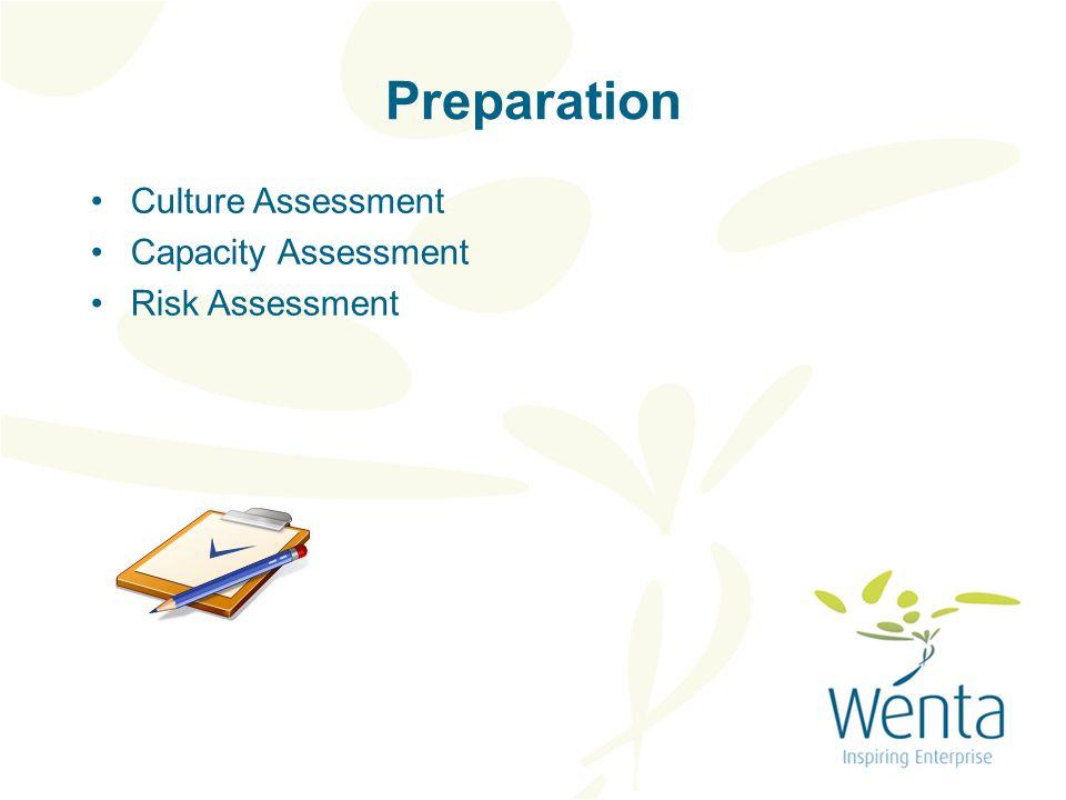 Preparation Culture Assessment Capacity Assessment Risk Assessment