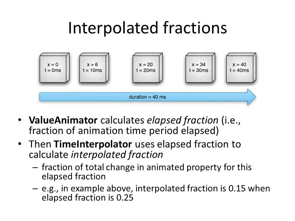 Interpolated fractions ValueAnimator calculates elapsed fraction (i.e., fraction of animation time period elapsed) Then TimeInterpolator uses elapsed