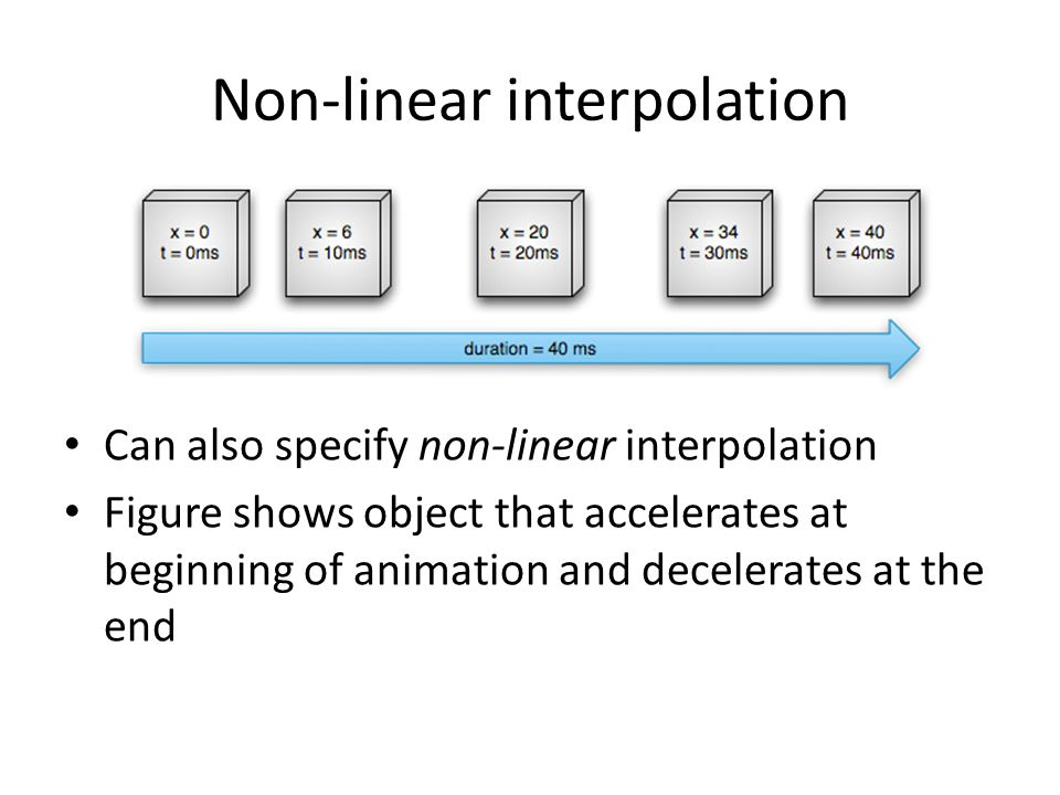 Non-linear interpolation Can also specify non-linear interpolation Figure shows object that accelerates at beginning of animation and decelerates at t