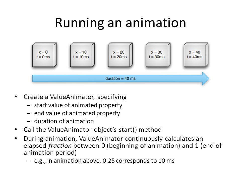 Running an animation Create a ValueAnimator, specifying – start value of animated property – end value of animated property – duration of animation Ca