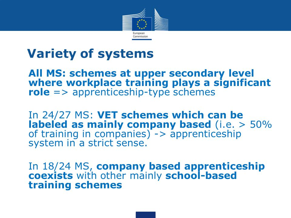 Variety of systems All MS: schemes at upper secondary level where workplace training plays a significant role => apprenticeship-type schemes In 24/27