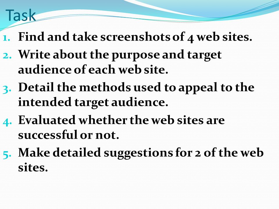 Task 1. Find and take screenshots of 4 web sites.