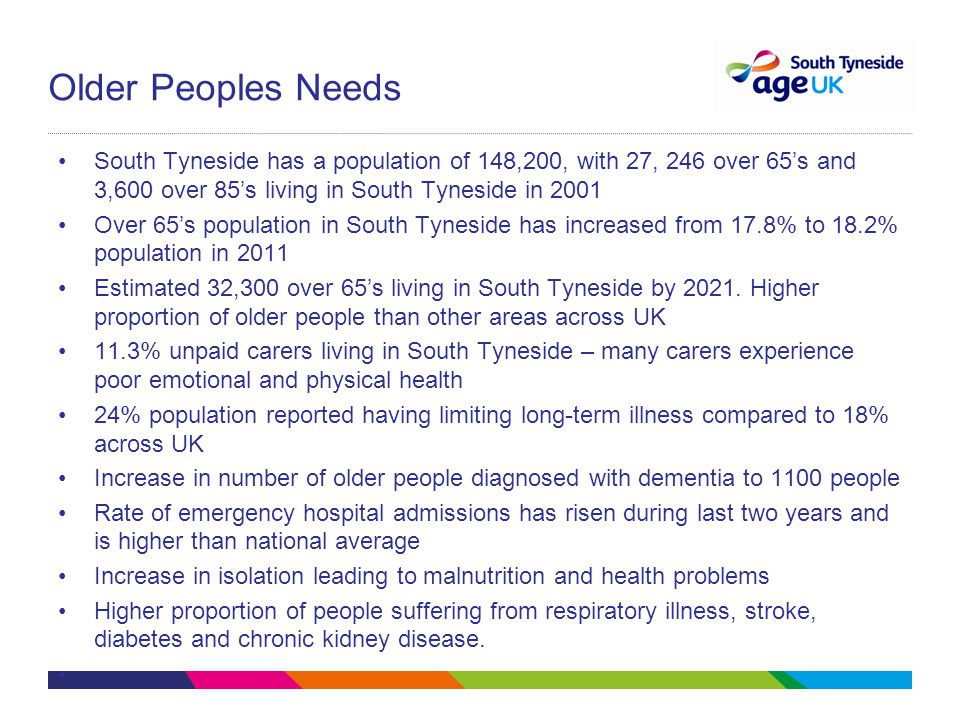 Older Peoples Needs South Tyneside has a population of 148,200, with 27, 246 over 65's and 3,600 over 85's living in South Tyneside in 2001 Over 65's population in South Tyneside has increased from 17.8% to 18.2% population in 2011 Estimated 32,300 over 65's living in South Tyneside by 2021.