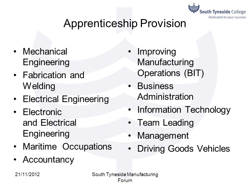 Apprenticeship Provision Mechanical Engineering Fabrication and Welding Electrical Engineering Electronic and Electrical Engineering Maritime Occupati