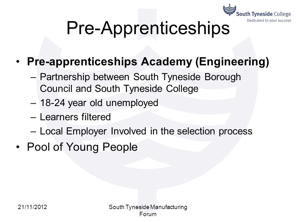 Pre-Apprenticeships Pre-apprenticeships Academy (Engineering) –Partnership between South Tyneside Borough Council and South Tyneside College –18-24 ye