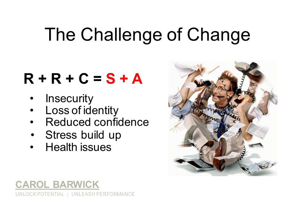 The Challenge of Change CAROL BARWICK UNLOCK POTENTIAL | UNLEASH PERFORMANCE R + R + C = S + A Insecurity Loss of identity Reduced confidence Health issues Stress build up