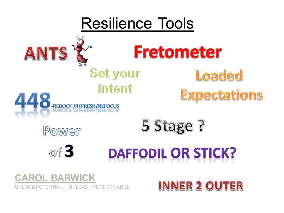Resilience Tools CAROL BARWICK UNLOCK POTENTIAL   UNLEASH PERFORMANCE
