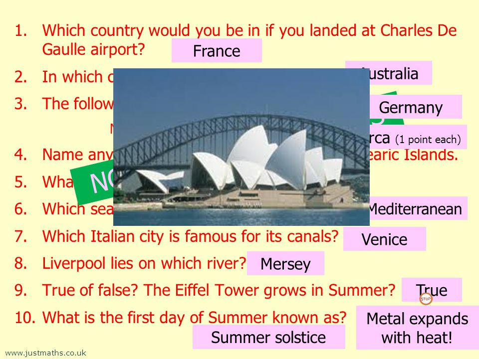 1.Which country would you be in if you landed at Charles De Gaulle airport.