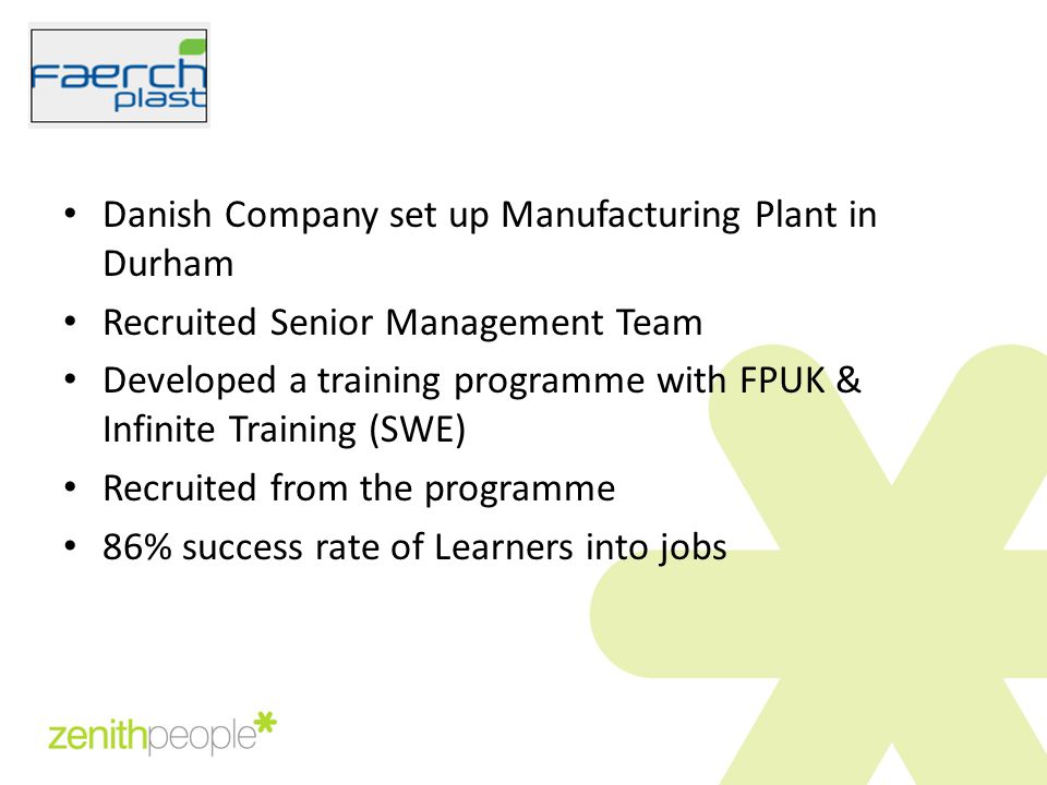 Danish Company set up Manufacturing Plant in Durham Recruited Senior Management Team Developed a training programme with FPUK & Infinite Training (SWE