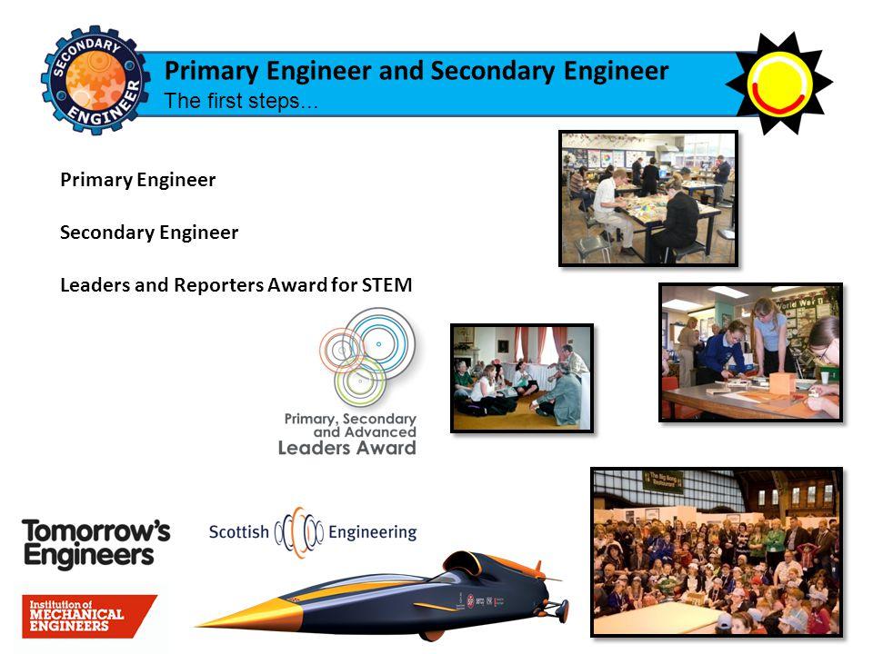 Primary Engineer Secondary Engineer Leaders and Reporters Award for STEM Primary Engineer and Secondary Engineer The first steps...