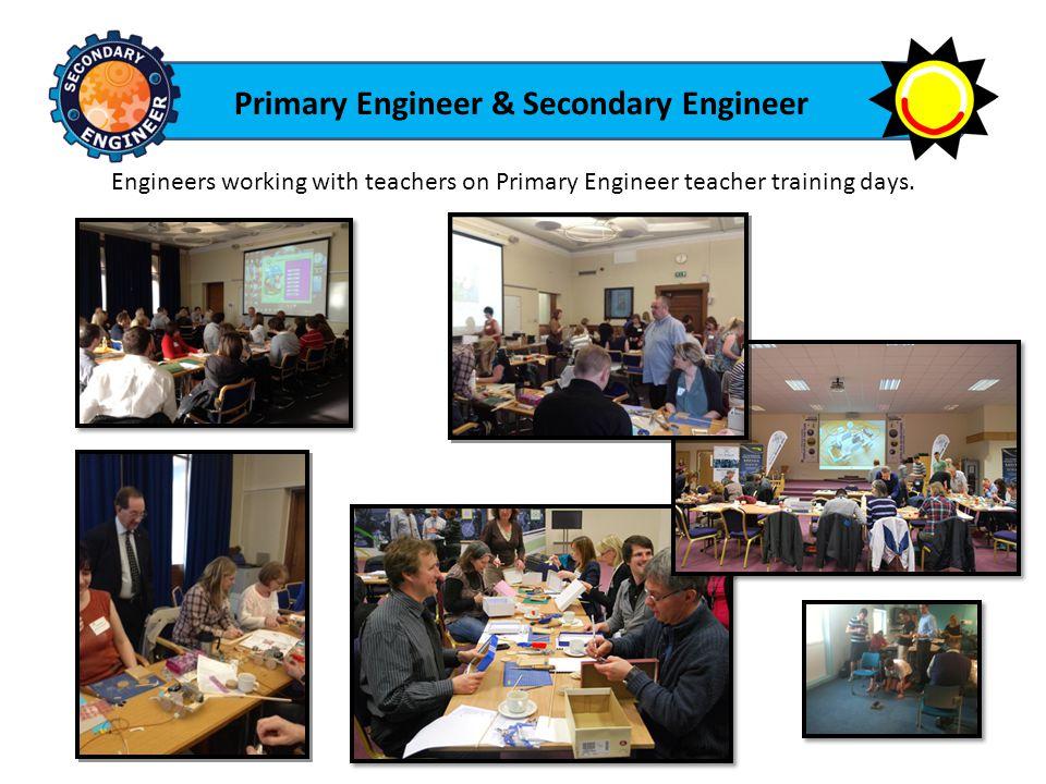 Primary Engineer & Secondary Engineer Engineers working with teachers on Primary Engineer teacher training days.