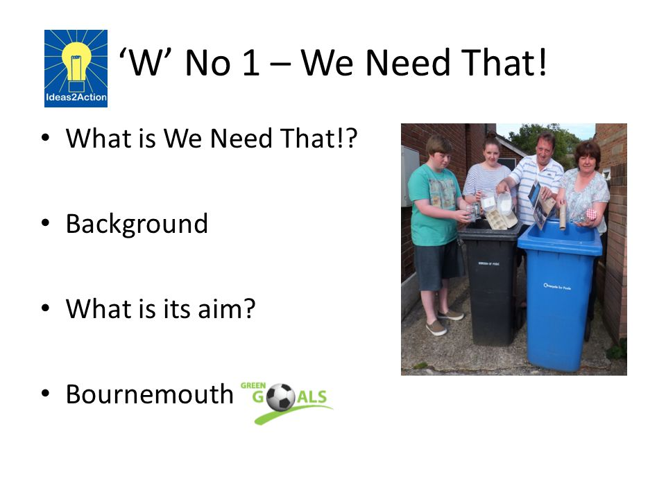 'W' No 1 – We Need That! What is We Need That!? Background What is its aim? Bournemouth