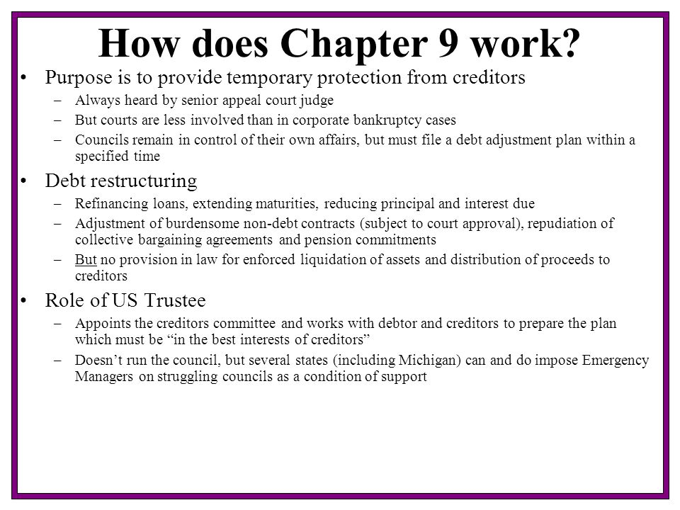How does Chapter 9 work.
