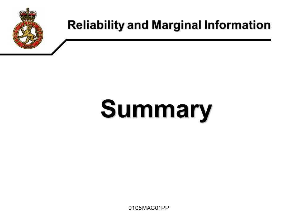 0105MAC01PP Reliability and Marginal Information END