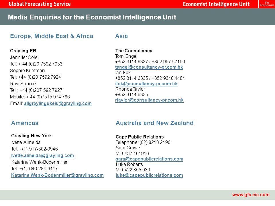 Master Template15 Media Enquiries for the Economist Intelligence Unit www.gfs.eiu.com Europe, Middle East & Africa Grayling PR Jennifer Cole Tel: + 44