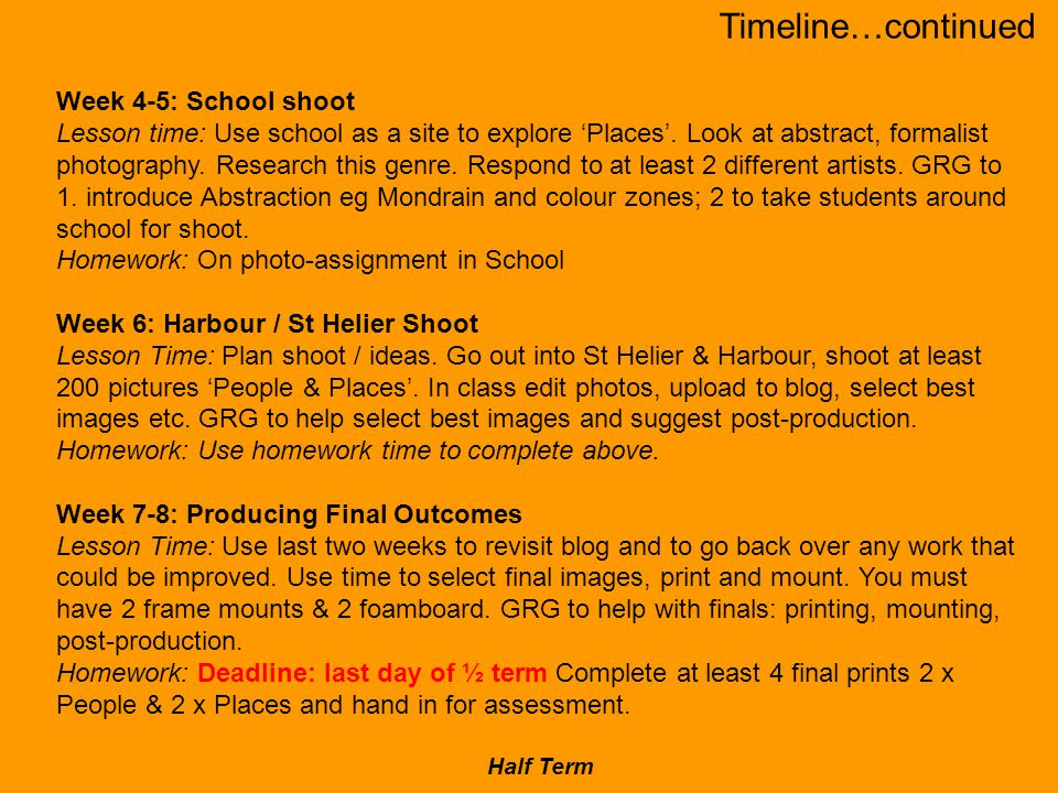 Week 4-5: School shoot Lesson time: Use school as a site to explore 'Places'.