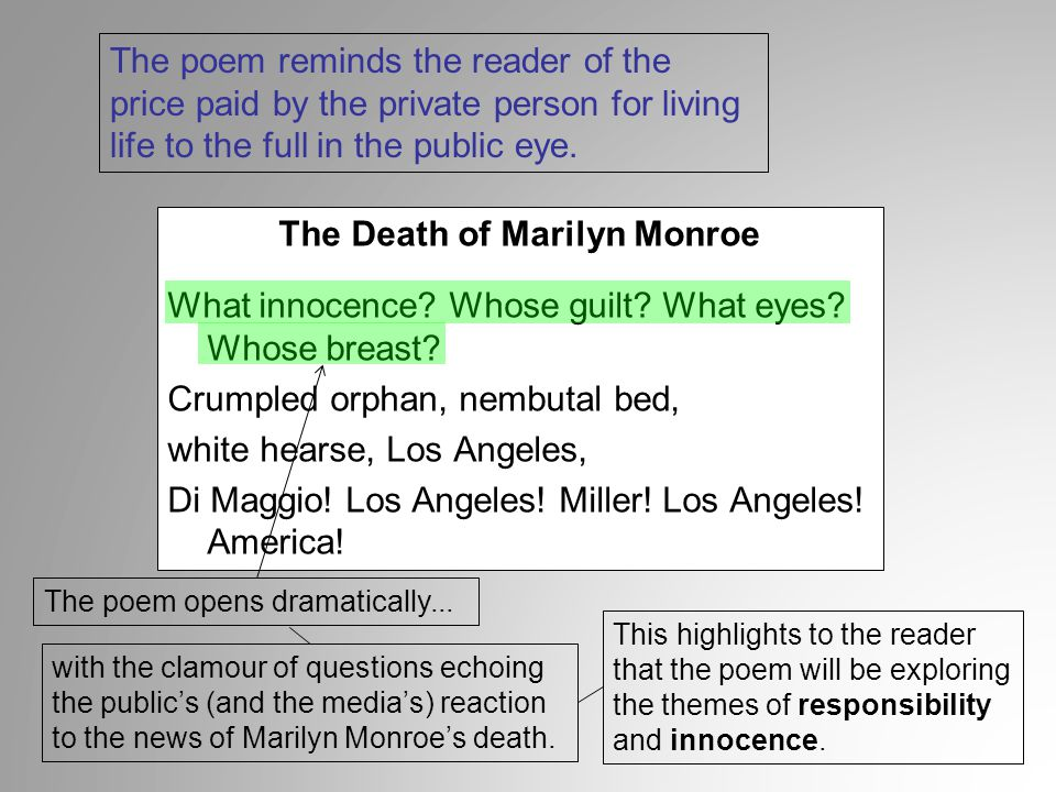 The Death of Marilyn Monroe What innocence? Whose guilt? What eyes? Whose breast? Crumpled orphan, nembutal bed, white hearse, Los Angeles, Di Maggio!