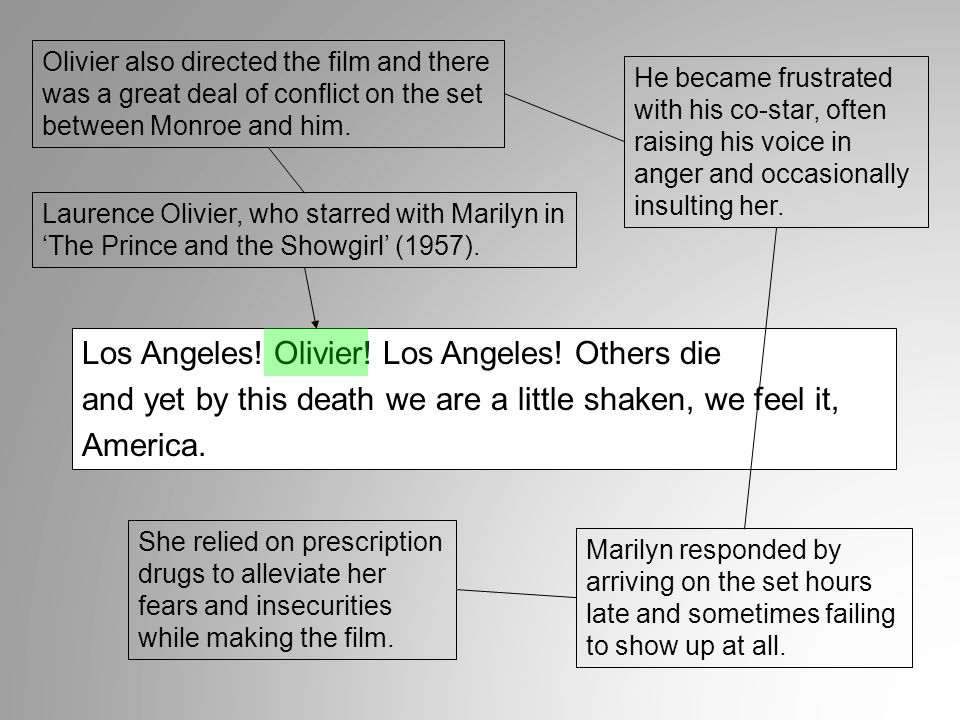Los Angeles! Olivier! Los Angeles! Others die and yet by this death we are a little shaken, we feel it, America. Laurence Olivier, who starred with Ma