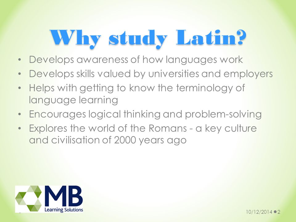 Why study Latin at a distance.