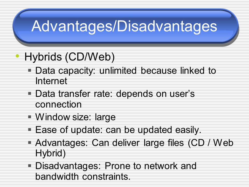 Advantages/Disadvantages Hybrids (CD/Web)  Data capacity: unlimited because linked to Internet  Data transfer rate: depends on user's connection  Window size: large  Ease of update: can be updated easily.