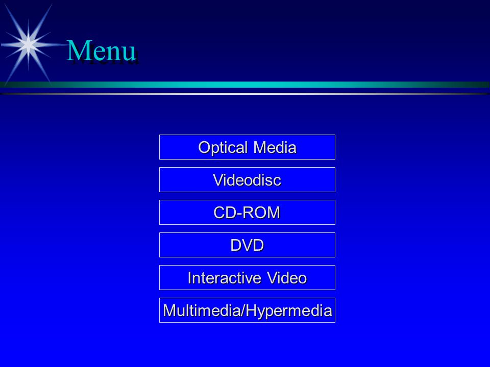 Menu Optical Media Optical Media Videodisc CD-ROM DVD Multimedia/Hypermedia Interactive Video Interactive Video