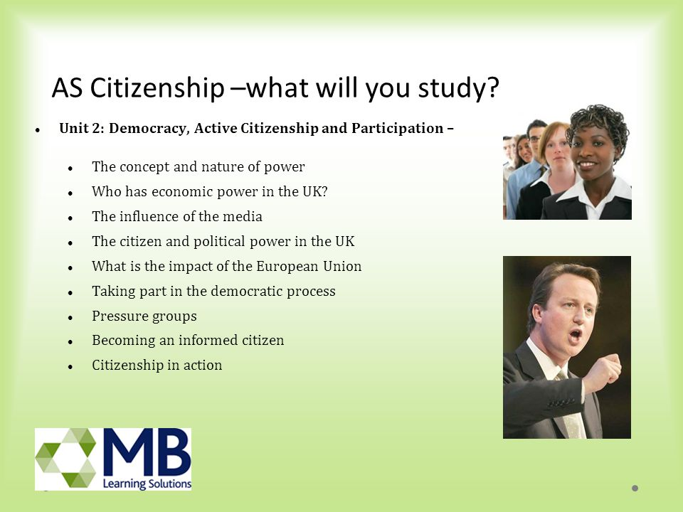 A2 Citizenship – what will you study.